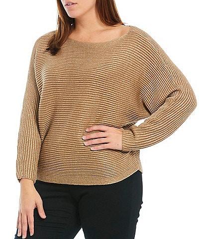 Lauren Ralph Lauren Plus Size Gold Metallic Boat Neck Dolman Long Sleeve Sweater