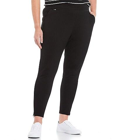 Lauren Ralph Lauren Plus Size Knit Jersey Pull-On Zip Vent Hem Details Ankle Pants