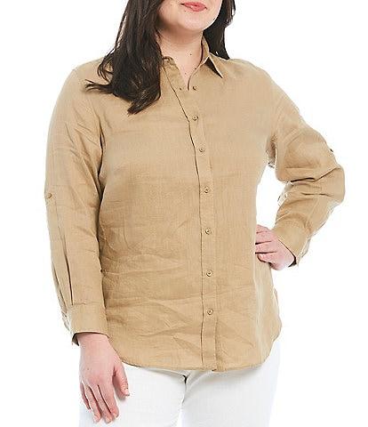 Lauren Ralph Lauren Plus Size Point Collar Neck Long Roll-Tab Sleeve Button Down Linen Shirt
