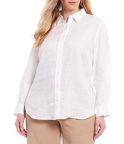 Lauren Ralph Lauren Plus Size Long Roll-Tab Sleeve Button Down Linen Shirt