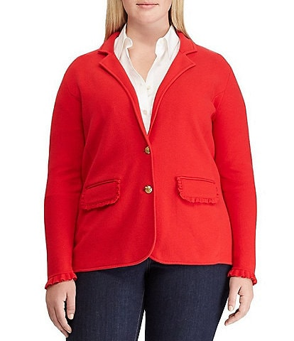 Lauren Ralph Lauren Plus Size Ruffle-Trim Cotton-Blend Blazer