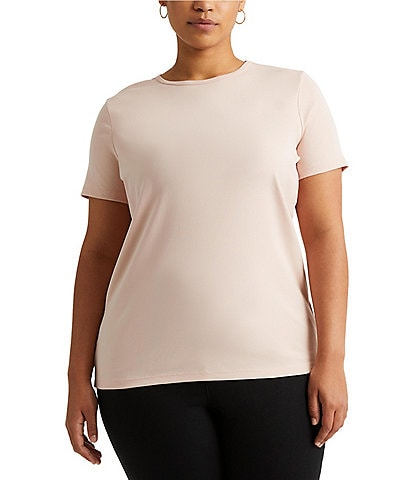 Lauren Ralph Lauren Plus Size Short Sleeves Stretch Cotton T-Shirt