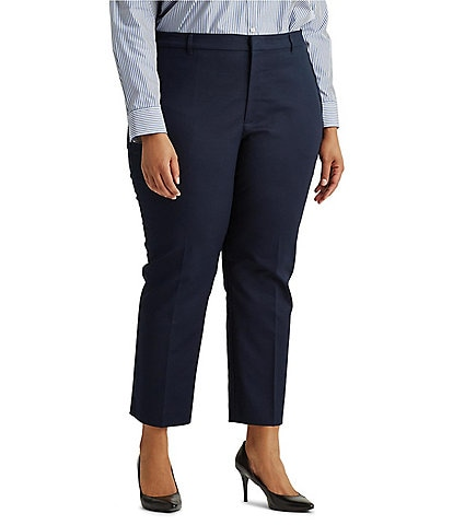 Lauren Ralph Lauren Plus Size Stretch Cotton Blend Cropped Pants