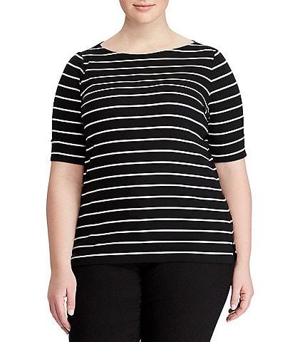 Lauren Ralph Lauren Plus Size Stripe Cotton Boatneck T-Shirt