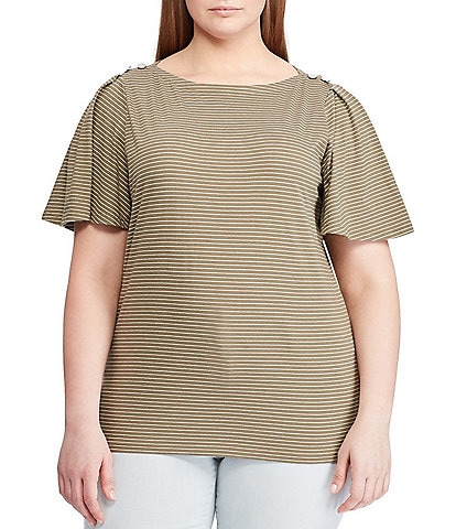 Lauren Ralph Lauren Plus Size Striped Jersey Flutter Sleeve Top
