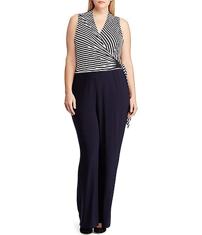 Lauren Ralph Lauren Plus Size Striped Surplice V-Neck Jersey Jumpsuit
