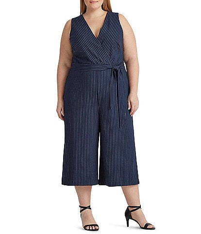 Lauren Ralph Lauren Plus Size Striped Wide Leg V-Neck Sleeveless Tie Waist Jumpsuit
