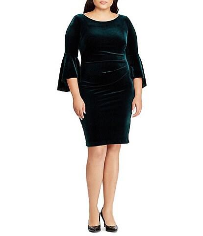 Lauren Ralph Lauren Plus Size Tarlona Velvet Bell Sleeve Sheath Dress