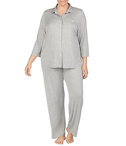 Lauren Ralph Lauren Plus Solid Jersey Knit Pajamas