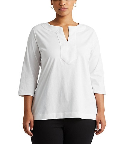 Lauren Ralph Lauren Plus Split Neck Woven Trim Knit Top