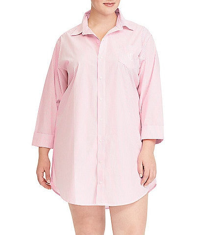 Lauren Ralph Lauren Plus Striped Print Poplin 3/4 Sleeve Sleep Shirt