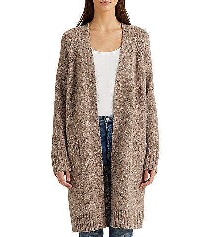 Lauren Ralph Lauren Pointelle Wool-Blend Open Front Long Sleeve Cardigan