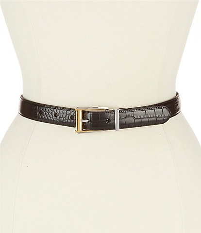 Lauren Ralph Lauren Reversible Crocodile-Embossed Belt