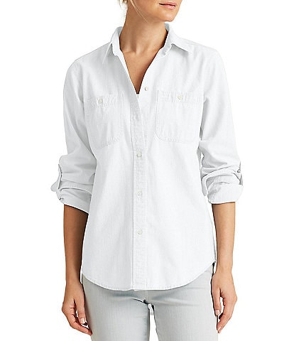 Lauren Ralph Lauren Roll-Tab Sleeve Button Down Cotton Shirt