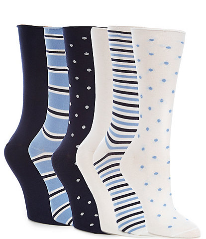 Lauren Ralph Lauren Roll Top Trouser Socks 6 Pack