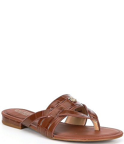 Lauren Ralph Lauren Rosalind Croco Embossed Leather Sandals