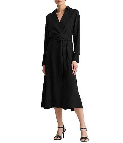 Lauren Ralph Lauren Wrap V-Neck Point Collar Long Sleeve Midi Shirt Dress
