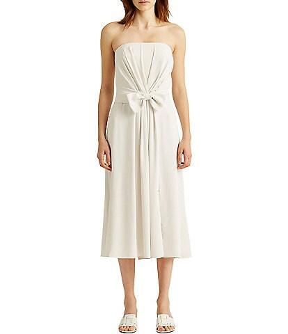 Lauren Ralph Lauren Strapless Pleated Bodice Tie Waist Midi Dress