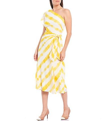 Lauren Ralph Lauren Stripe One Sleeve Tie Waist Crepe Midi Dress