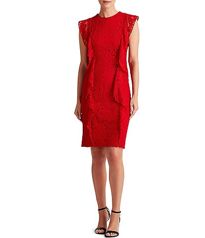 Lauren Ralph Lauren Lace Ruffle Front Sleeveless Sheath Dress