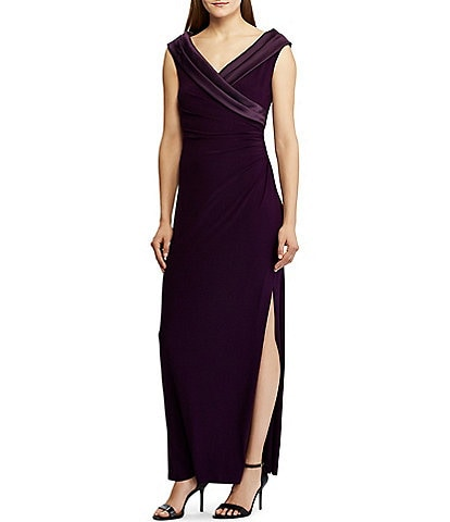 Lauren Ralph Lauren Satin Portrait Collar High Side Slit Gown