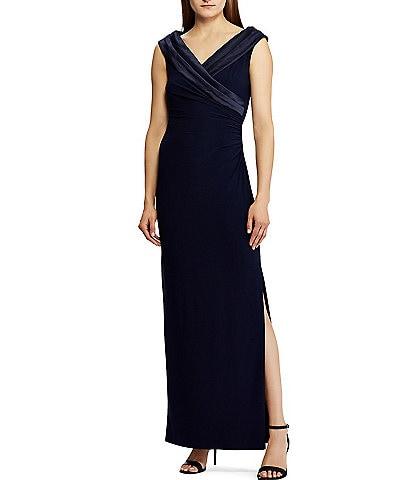 Lauren Ralph Lauren Satin Portrait Collar Jersey Gown