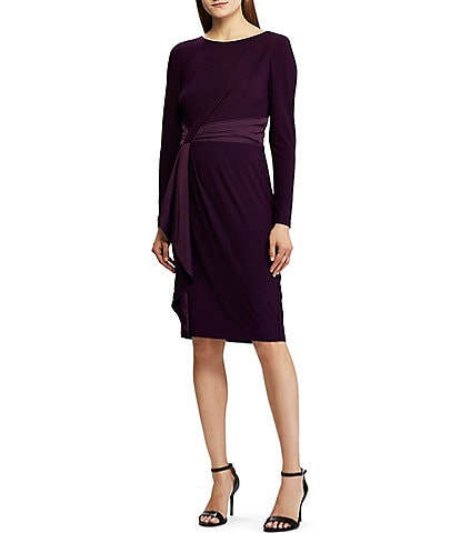 Lauren Ralph Lauren Satin Trim Wrap Front Sheath Dress