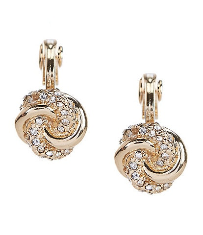 Lauren Ralph Lauren Small Pave Knot Button Clip-On Earrings