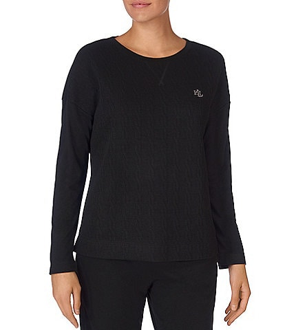 Lauren Ralph Lauren Solid Quilted Cable Lounge Top