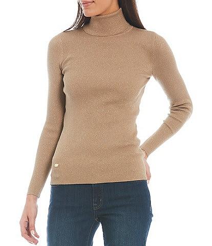 Lauren Ralph Lauren Stretch Cotton-Blend Ribbed Turtleneck Long Sleeve Lurex Detail Sweater