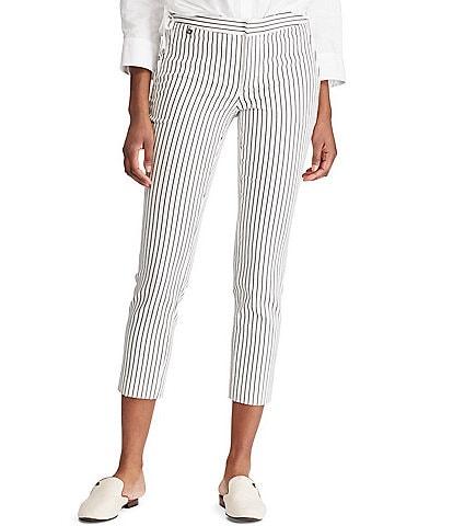 e8f63bbc2da Lauren Ralph Lauren Stretch Cotton Stripe Twill Skinny Crop Pants