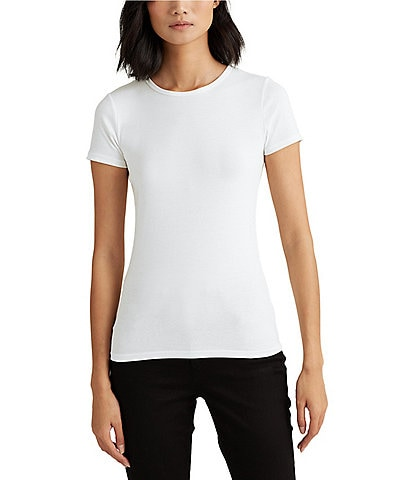 Lauren Ralph Lauren Short Sleeves Stretch Cotton T-Shirt