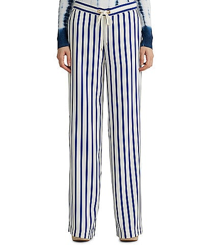 Lauren Ralph Lauren Stripe Satin Wide-Leg Drawstring Pants