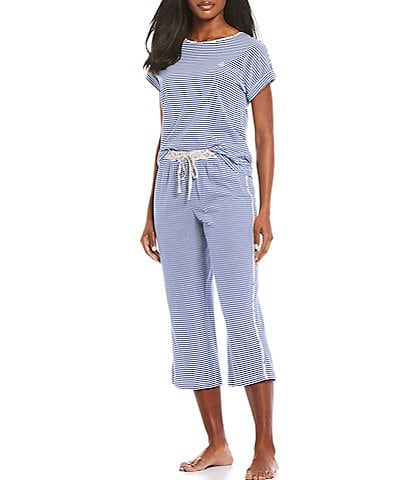 Lauren Ralph Lauren Striped Print Knit Capri Pajama Set