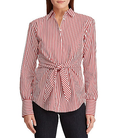 Lauren Ralph Lauren Striped Tie-Front Long Sleeve Cotton Shirt