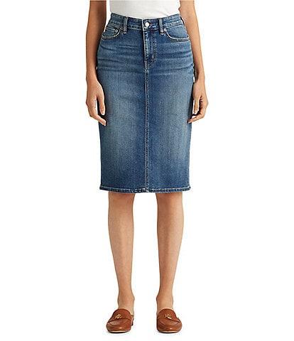 Lauren Ralph Lauren Sunset Indigo Wash Stretch Denim Pencil Skirt
