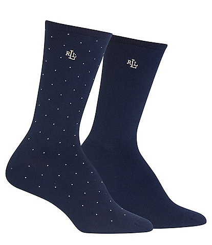 Lauren Ralph Lauren Supersoft Pindot Trouser Socks 2-Pair