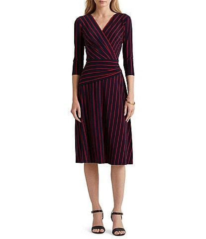 Lauren Ralph Lauren Surplice V-Neck 3/4 Sleeve Striped Midi Dress
