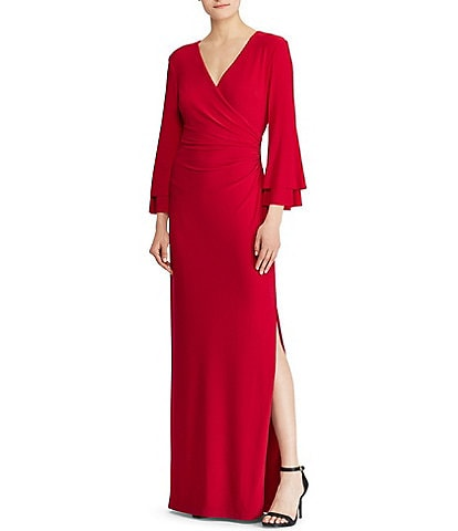 Lauren Ralph Lauren Surplice V-Neck Tiered Ruffle Sleeve Side Slit Sheath Gown