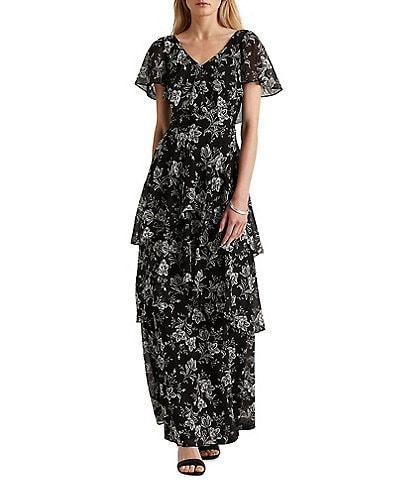 Lauren Ralph Lauren Floral Georgette Ruffle Front V-Neck Flutter Sleeve Cape Overlay Gown