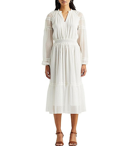 Lauren Ralph Lauren Swiss Dot Cotton Blend Midi Dress