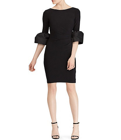 Lauren Ralph Lauren Taffeta Bell Sleeve Jersey Dress