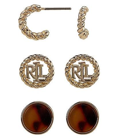 Lauren Ralph Lauren Tortoise Trio Earrings Set