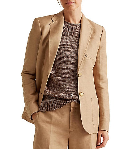 Lauren Ralph Lauren Twill Linen Blend Two-Button Jacket