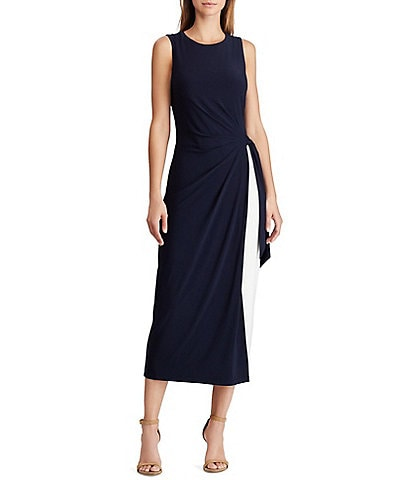 Lauren Ralph Lauren Two-Tone Jersey Sheath Midi Dress