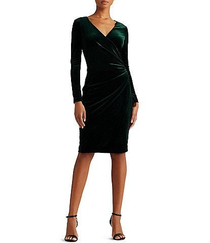 Lauren Ralph Lauren Surplice V-Neck Long Sleeve Velvet Sheath Dress