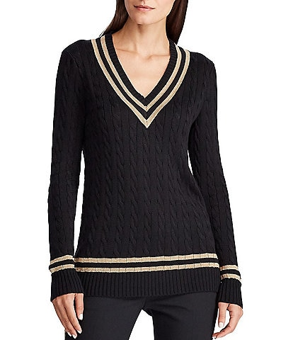 Lauren Ralph Lauren V-Neck Metallic Cricket Sweater
