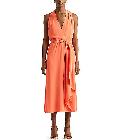Lauren Ralph Lauren V-Neck Sleeveless Halter Crepe Midi Dress