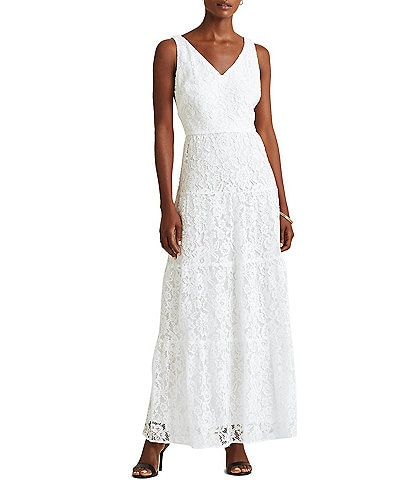 Lauren Ralph Lauren V-Neck Sleeveless Tiered Lace Midi Dress
