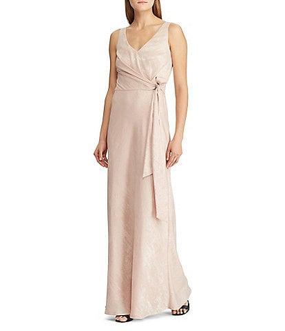 Lauren Ralph Lauren V-Neck Tie Side A-Line Gown